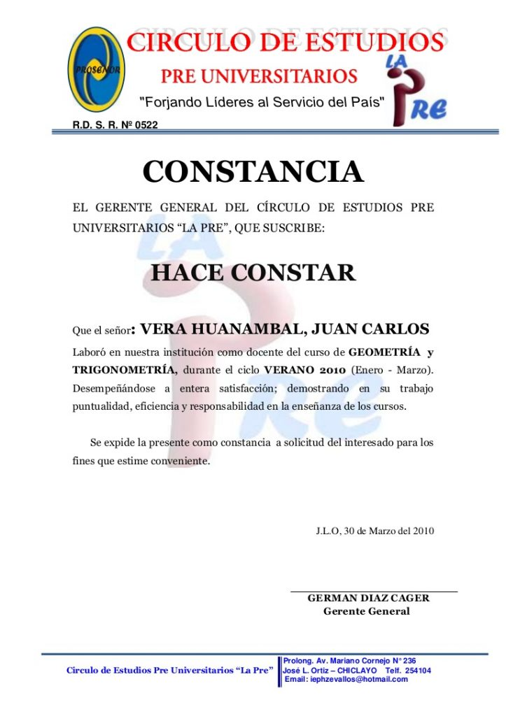 CARTA DE TRABAJO