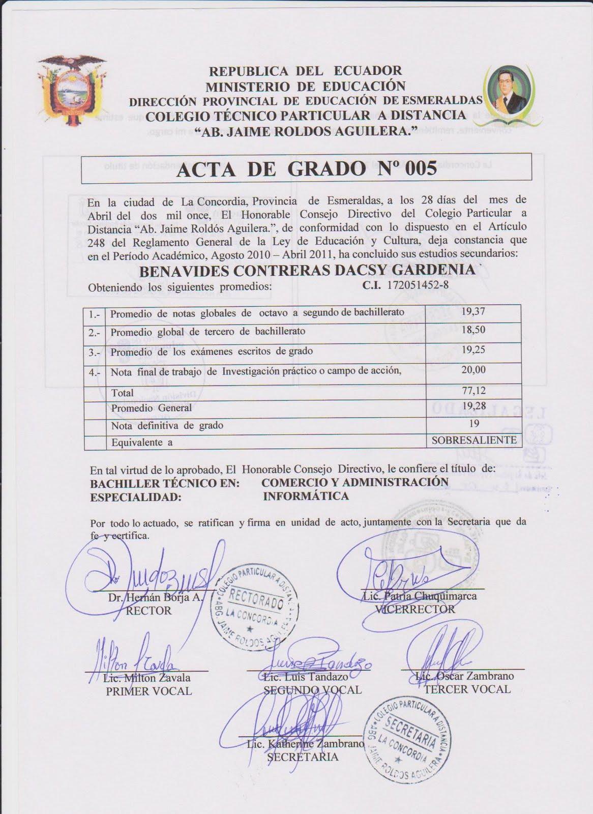 ACTA DE GRADO